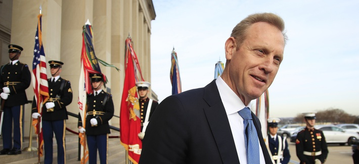 In this Wednesday, Dec. 19, 2018, file photo, Deputy Defense Secretary Patrick Shanahan, speaks to reporters on the steps of the River entrance of the Pentagon.