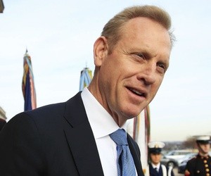 Patrick Shanahan speaks to reporters outside the Pentagon in December.