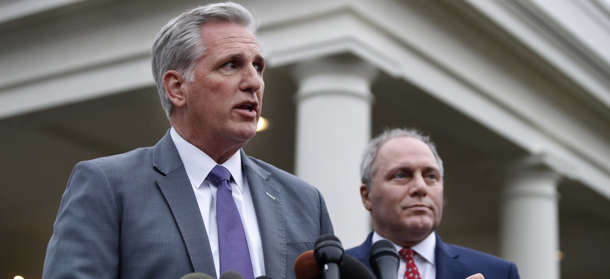 House Majority Leader Kevin McCarthy, R-Calif., left, and House Majority Whip Steve Scalise, R-La., speak to the media after a meeting with President Donald Trump on border security Wednesday, Jan. 2, 2019, in Washington.