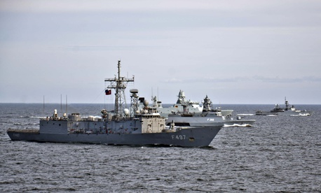 Allied and partner nation ships participate in close-quarters ship maneuvering drills during exercise Baltic Operations (BALTOPS) 2015.