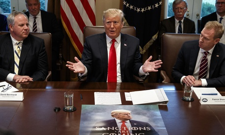 President Donald Trump speaks during a cabinet meeting at the White House, Wednesday, Jan. 2, 2019, with acting Defense Secretary Patrick Shanahan, right.