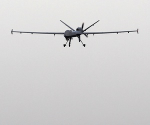 A Predator B unmanned aircraft lands after a mission at the Naval Air Station, Tuesday, Nov. 8, 2011, in Corpus Christi, Texas.