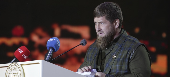 In this Friday, Oct. 5, 2018 photo Chechen regional leader Ramzan Kadyrov speaks during celebration of the 200th birthday of the Chechen capital, the city of Grozny in Grozny, Russia.