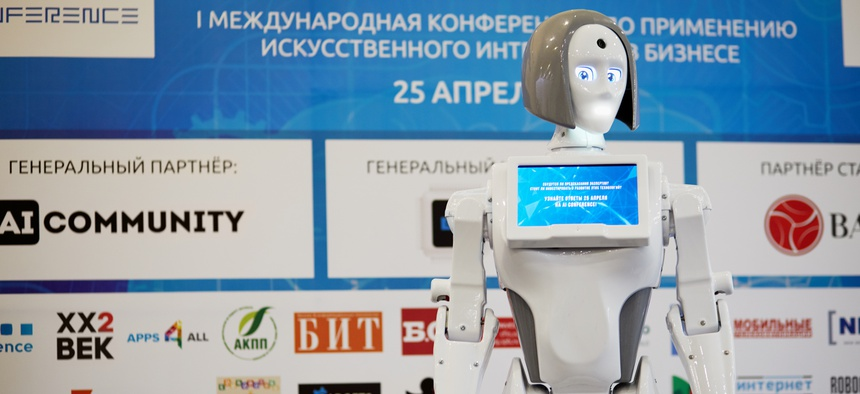 Feminine robot KIKI is displayed during AI Conference in Novotel Moscow City Hotel April 25, 2017.
