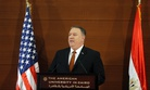 U.S. Secretary of State Mike Pompeo, gives a speech at the American University in Cairo, Egypt, Thursday, Jan. 10, 2019.