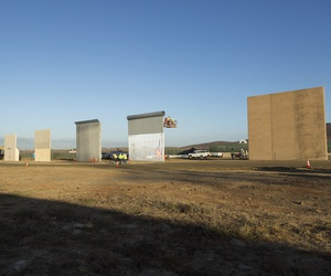 Ground views of different Border Wall Prototypes in California in 2017.