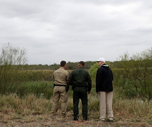 President Trump tours the U.S. border with Mexico in McAllen, Texas.