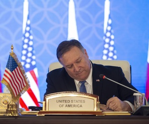 US Secretary of State Mike Pompeo signs a memorandum of understanding and statement of intent with Mohammed bin Abdulrahman bin Jassim Al Thani, the Deputy Prime Minister and Qatari Minister of Foreign Affairs, in Doha, Qatar, January 13, 2019.