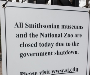 A sign at the National Zoo alerts would-be visitors, that the zoo and all Smithsonian Museums are closed because of the government shutdown.
