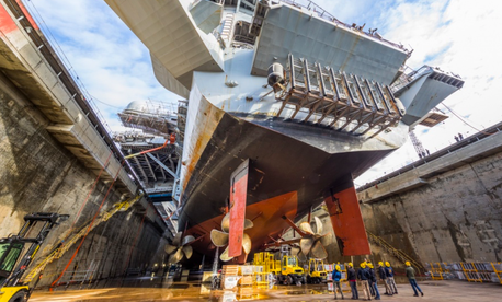 USS Nimitz (CVN 68) in Dry Dock 6 post dewatering at Puget Sound Naval Shipyard & Intermediate Maintenance Facility in Bremerton, Wash., March 5, 2018.