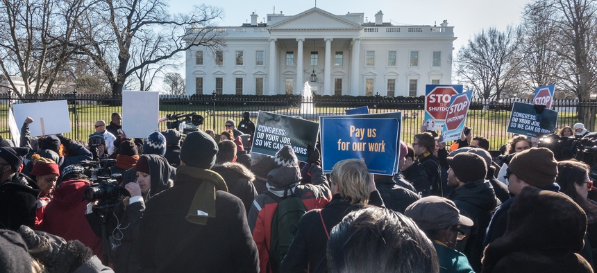 Protestors gather at the White House over the government shutdown January 10, 2019.