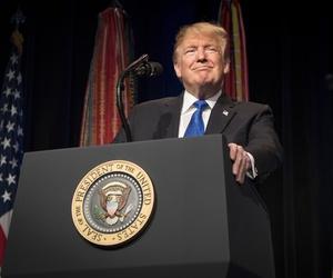 President Donald Trump spoke at the Pentagon on Thursday.