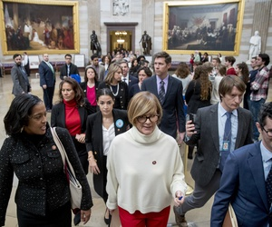 In this Jan. 16, 2019, photo, freshman Congressmen walk through the Capitol Rotunda as they deliver a letter calling to an end to the government shutdown to the office of Senate Majority Leader Mitch McConnell of Ky., on Capitol Hill in Washington.