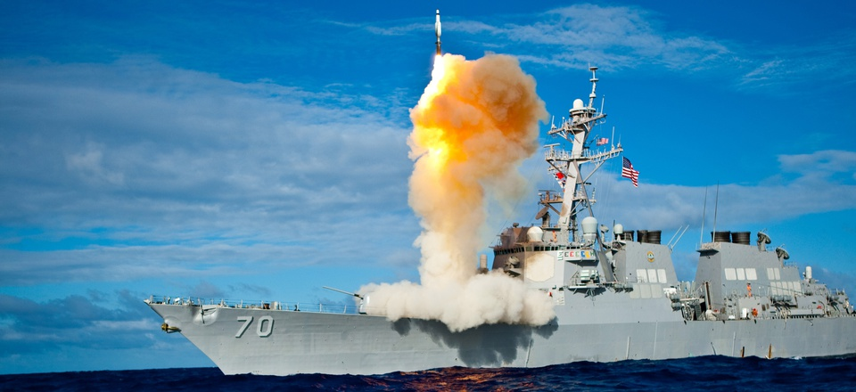 A Standard missile launches from the U.S. Navy destroyer Hopper.