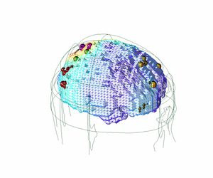 A data visualization showing different regions of brain in terms of electrical activity, gathered via EEG.