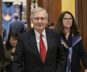 Senate Majority Leader Mitch McConnell, R-Ky., leaves the chamber after Senate Democrats blocked President Donald Trump's request for $5.7 billion to construct his long-sought wall along the U.S-Mexico border, as a partial government shutdown continues.