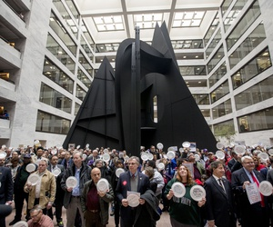 Furloughed government workers affected by the shutdown hold a silent protest against the ongoing partial government shutdown on Capitol Hill in Washington, Wednesday, Jan. 23, 2019.