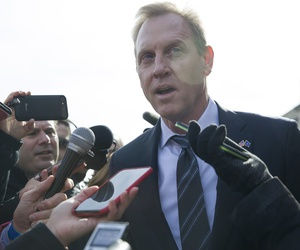 Acting Defense Secretary Patrick Shanahan speaks with the media as he waits for the arrival of NATO Secretary General Jens Stoltenberg at the Pentagon, Monday, Jan. 28, 2019, in Washington.