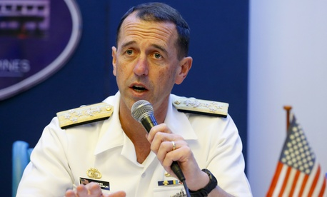 In this Oct. 29, 2018, file photo, Adm. John Richardson, chief of Naval Operations of the U.S. Navy, speaks during a news conference in the Philippines.