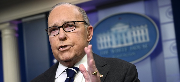 White House National Economic Council Director Larry Kudlow speaks to reporters in the briefing room of the White House in Washington, Tuesday, Jan. 22, 2019.