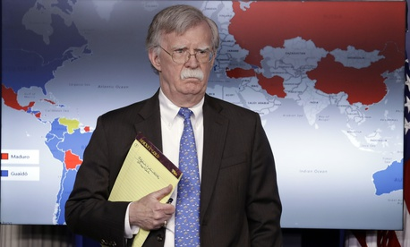 National security adviser John Bolton listens during a press briefing at the White House, Monday, Jan. 28, 2019, in Washington.