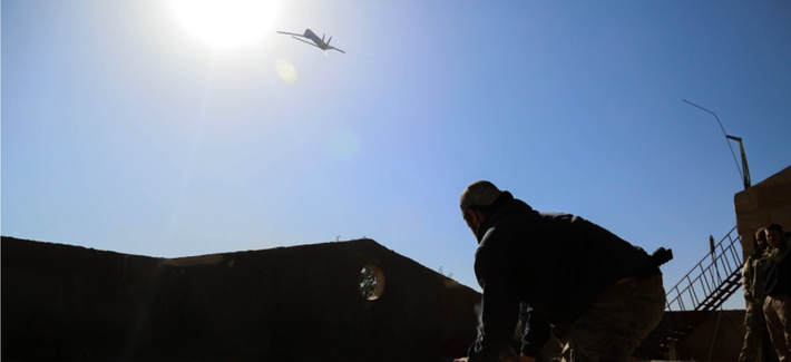 A Coalition Forces member launches an Unmanned Aerial Vehicle near Hajin, Syria, Jan 8, 2019.