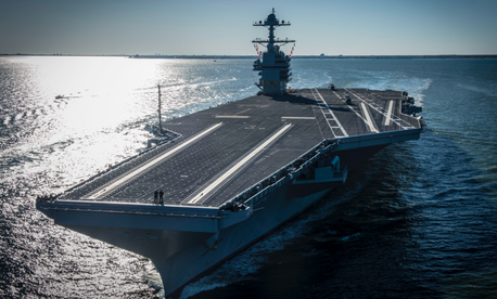 The future USS Gerald R. Ford (CVN 78) underway on its own power for the first time.