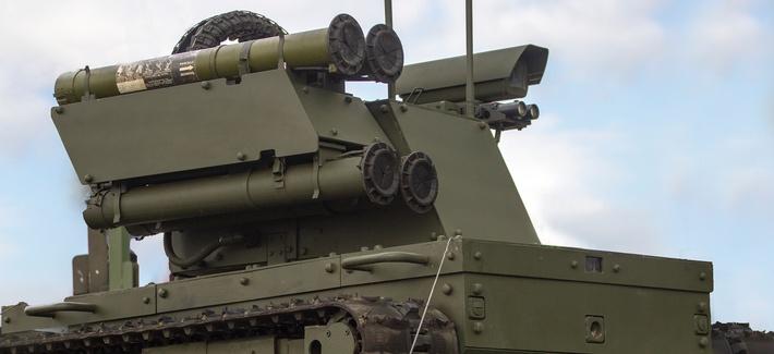 Russia demonstrates its Platform M robot in St. Petersburg in 2017.
