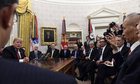 President Donald Trump, left, meets with Chinese Vice Premier Liu He, far right, at the White House in Washington, Thursday, Jan. 31, 2019.