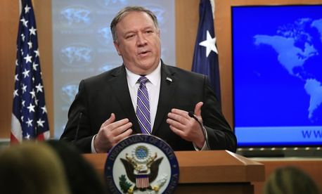 Secretary of State Mike Pompeo talks about Venezuela at the State Department in Washington, Friday, Jan. 25, 2019.