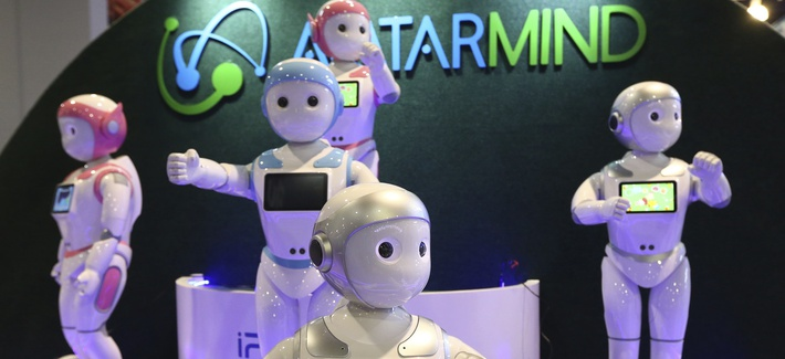 AvatarMind has developed service robots like iPal which is based on artificial intelligence, motion control, sensors and power management, and created iPal to deliver on that vision with multiple applications. Photo from CES Las Vegas, Jan 8, 2019.