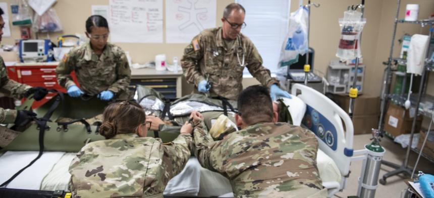 The 1st Battalion 228th Aviation Regiment practices 9-line medical evacuations at Soto Cano Air Base, Honduras, Dec. 12, 2018.