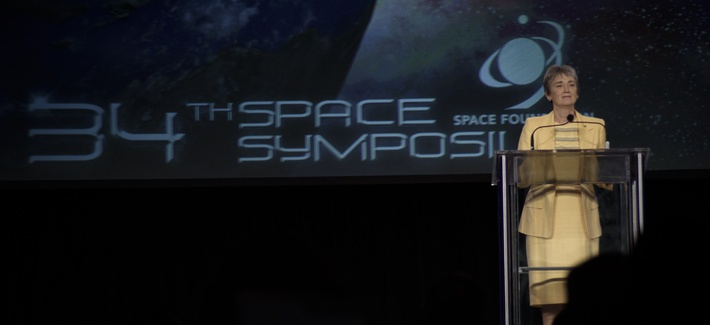 Air Force Secretary Heather Wilson delivers the key note address at the 34th Annual Space Symposium April 17.