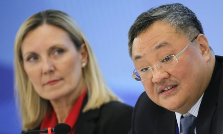 U.S. Under Secretary of State Andrea Thompson, left, and Director General of the Department of Arms Control and Disarmament of the Chinese Foreign Ministry Fu Cong attend a panel discussion after a Treaty on the Non-Proliferation of Nuclear Weapons (NPT)