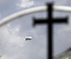 A surveillance balloon is used near the Texas-Mexico border, in Los Ebanos, Texas in 2015.