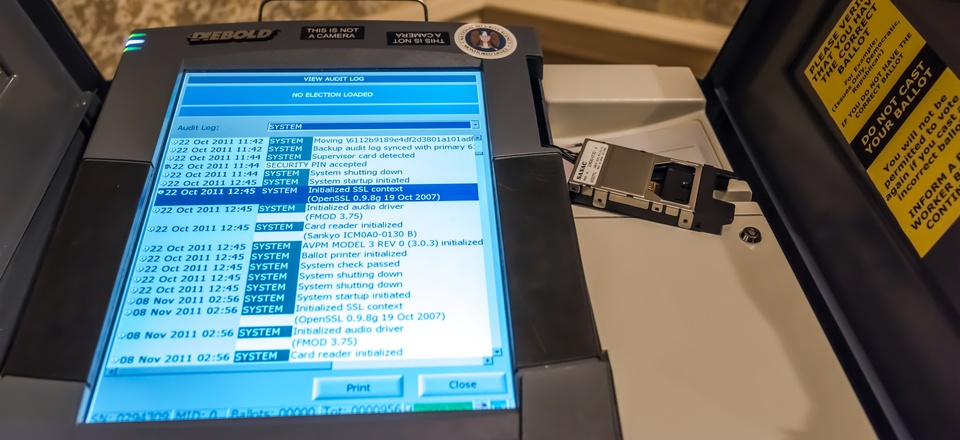 A hacked voting machine is on display at the 25th defcon hacker conference held at Caesar Palace July 27 - 30, showing security component has not been patched since 2007.