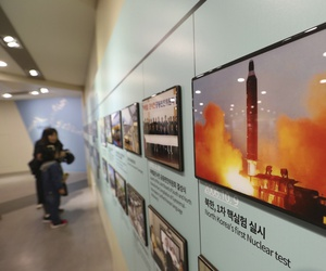 A photo showing North Korea's missile launch is displayed at the Unification Observation Post in Paju, near the border with North Korea, South Korea, Friday, Nov. 16, 2018.