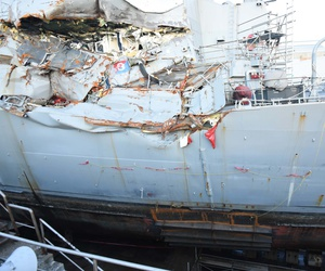 The USS Fitzgerald on July 11, 2017 after its collision with a cargo ship in the Pacific in June 2017.