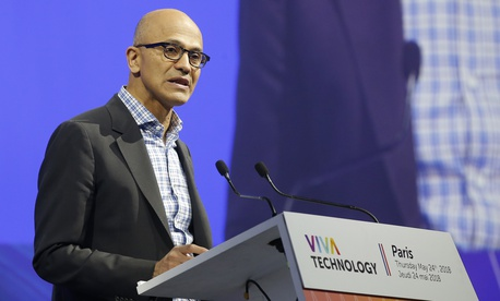 Microsoft CEO Satya Nadella speaks during the opening of the VivaTech gadget show in Paris, Thursday, May 24, 2018.