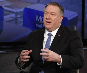 "U.S. Secretary of State Mike Pompeo is interviewed about Hoda Muthana's case by Maria Bartiromo during her ""Mornings with Maria Bartiromo"" program on the Fox Business Network, in New York Thursday, Feb. 21, 2019."
