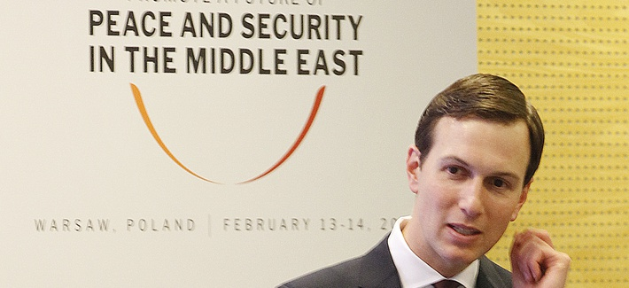 Jared Kushner, President Trump's son-in-law, at a conference on Peace and Security in the Middle East, in Warsaw, Poland, Thurs., Feb. 14, 2019.