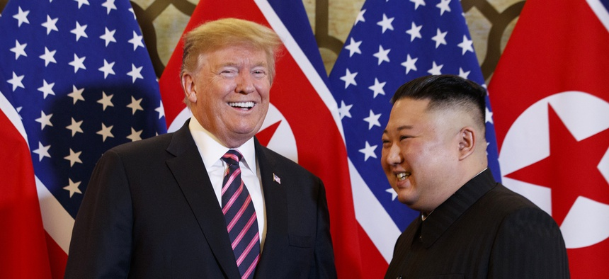 President Donald Trump meets North Korean leader Kim Jong Un, Wednesday, Feb. 27, 2019, in Hanoi.