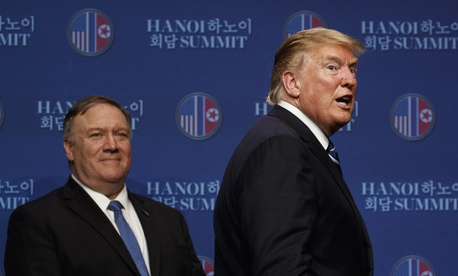 President Donald Trump, with Sec. of State Mike Pompeo, concludes a news conference after a summit with North Korean leader Kim Jong Un, Thursday, Feb. 28, 2019, in Hanoi.