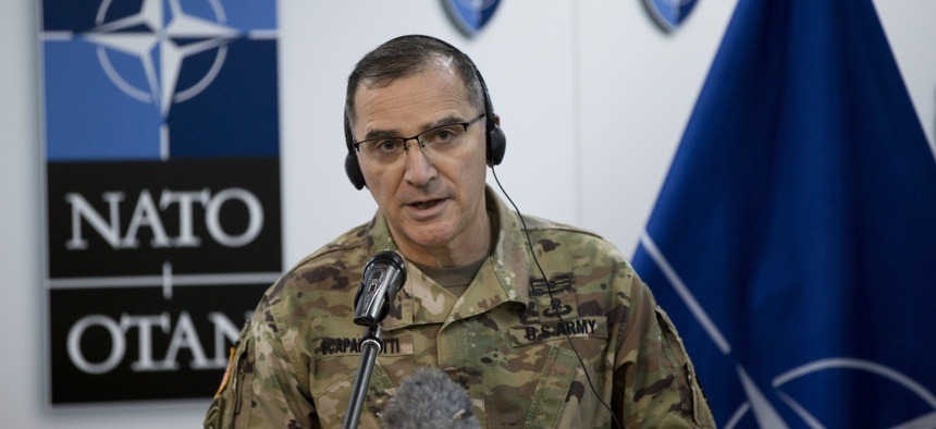 NATO's Supreme Allied Commander for Europe (SACEUR) U.S General Curtis Scaparrotti, speaks during a press conference at the KFOR military headquarters in Pristina in Kosovo capital Pristina on Tuesday, Feb. 21, 2017.