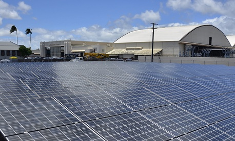Solar panels form part of the Renewable Hydrogen Fueling and Production Station on Joint Base Pearl Harbor-Hickam.