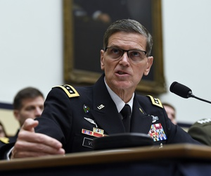 U.S. Central Command Commander Gen. Joseph Votel testifies before the House Armed Services Committee on Capitol Hill in Washington, Thursday, March 7, 2019.
