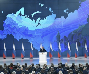 Russian President Vladimir Putin, center, delivers a state-of-the-nation address in Moscow, Russia, Wednesday, Feb. 20, 2019.