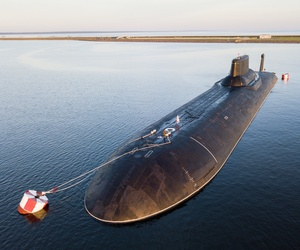 In this Saturday, July 29, 2017 file photo, the Russian nuclear submarine Dmitry Donskoy moored near Kronstadt, a seaport town 30 km (19 miles) west of St. Petersburg, Russia.