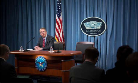 Mr. David L. Norquist, performing the duties of the U.S. deputy secretary of defense, speaks about the fiscal year 2020 defense budget during a press briefing at the Pentagon in Washington, D.C., March 12, 2019.