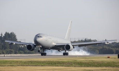 A Boeing KC-46A Pegasus touches down at Yokota Air Base, Japan, Oct. 23, 2018.